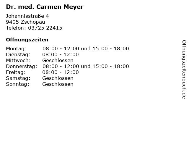 Dr. med. Carmen Meyer in Zschopau: Adresse und Öffnungszeiten
