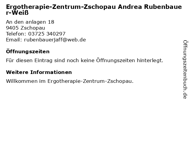Ergotherapie-Zentrum-Zschopau Andrea Rubenbauer-Weiß in Zschopau: Adresse und Öffnungszeiten
