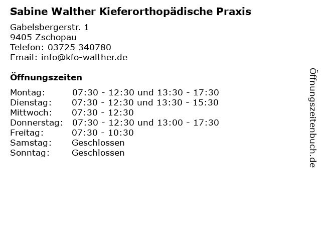 Sabine Walther Kieferorthopädische Praxis in Zschopau: Adresse und Öffnungszeiten
