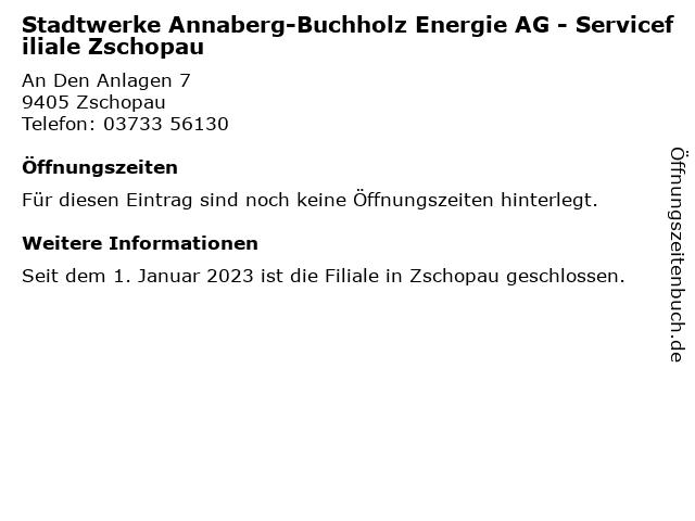 Stadtwerke Annaberg-Buchholz Energie AG in Zschopau: Adresse und Öffnungszeiten