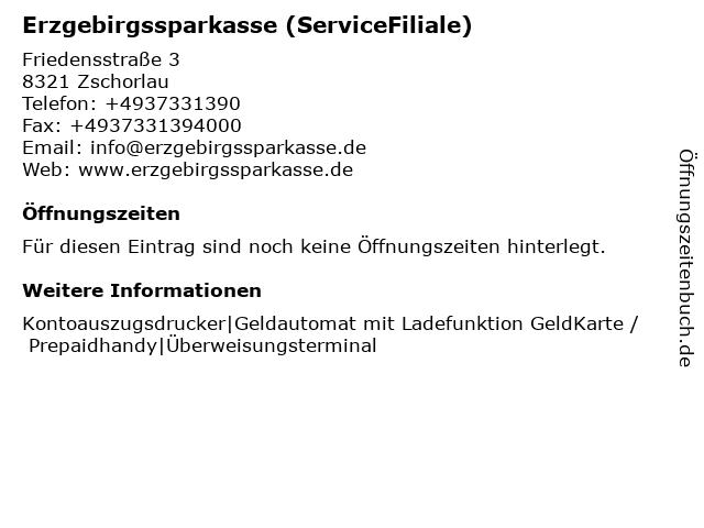 Erzgebirgssparkasse - BeratungsFiliale Zschorlau in Zschorlau: Adresse und Öffnungszeiten