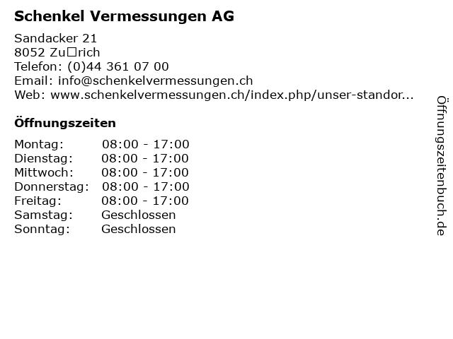 Schenkel Vermessungen AG in Zürich: Adresse und Öffnungszeiten