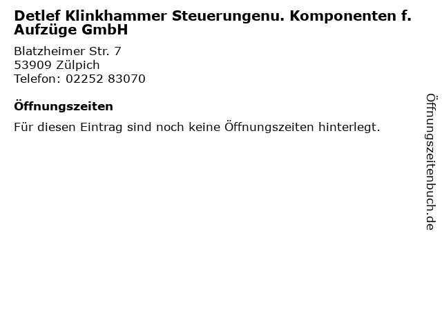 Detlef Klinkhammer Steuerungenu. Komponenten f. Aufzüge GmbH in Zülpich: Adresse und Öffnungszeiten