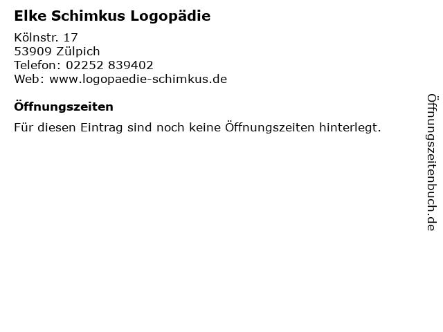 Elke Schimkus Logopädie in Zülpich: Adresse und Öffnungszeiten