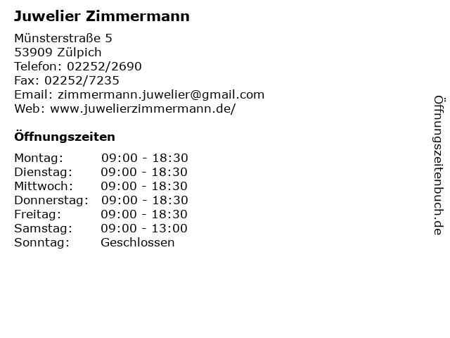 Juwelier Zimmermann in Zülpich: Adresse und Öffnungszeiten