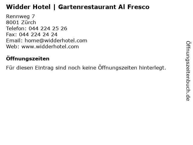 Widder Hotel | Gartenrestaurant Al Fresco in Zürch: Adresse und Öffnungszeiten