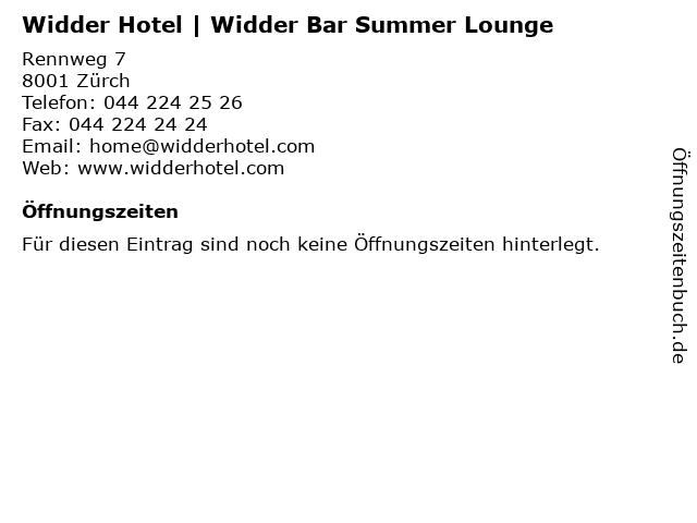 Widder Hotel | Widder Bar Summer Lounge in Zürch: Adresse und Öffnungszeiten