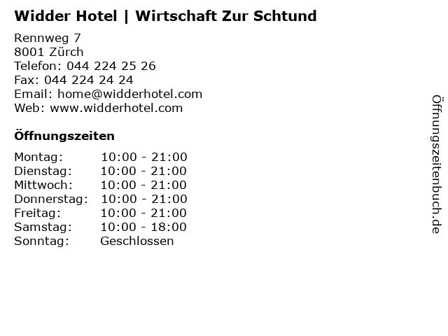 Widder Hotel   Wirtschaft Zur Schtund in Zürch: Adresse und Öffnungszeiten