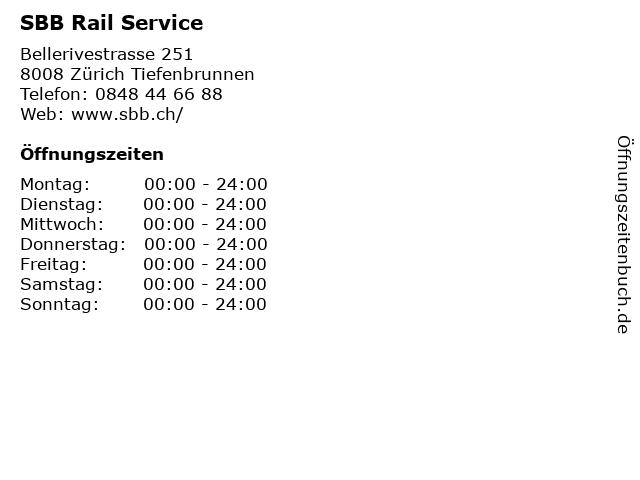 SBB Rail Service in Zürich Tiefenbrunnen: Adresse und Öffnungszeiten