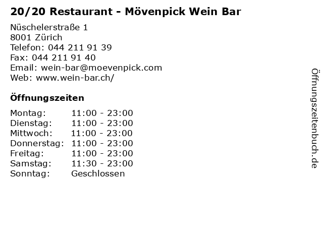 20/20 Restaurant - Mövenpick Wein Bar in Zürich: Adresse und Öffnungszeiten