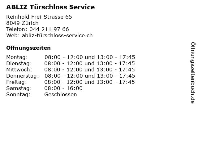 ABLIZ Türschloss Service in Zürich: Adresse und Öffnungszeiten