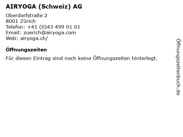 AIRYOGA (Schweiz) AG in Zürich: Adresse und Öffnungszeiten