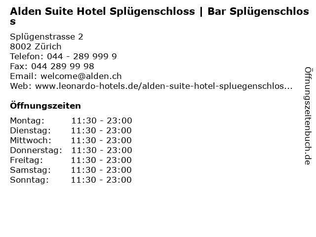 Alden Suite Hotel Splügenschloss   Bar Splügenschloss in Zürich: Adresse und Öffnungszeiten