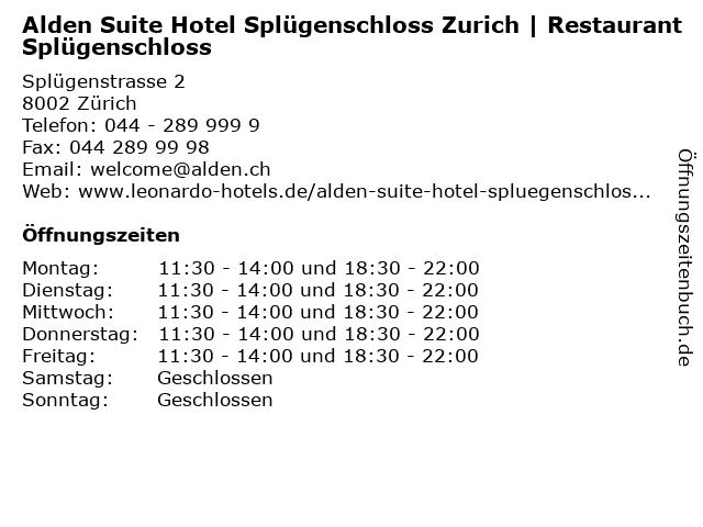Alden Suite Hotel Splügenschloss Zurich   Restaurant Splügenschloss in Zürich: Adresse und Öffnungszeiten