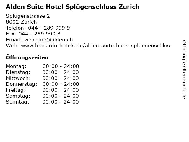 Alden Suite Hotel Splügenschloss Zurich in Zürich: Adresse und Öffnungszeiten