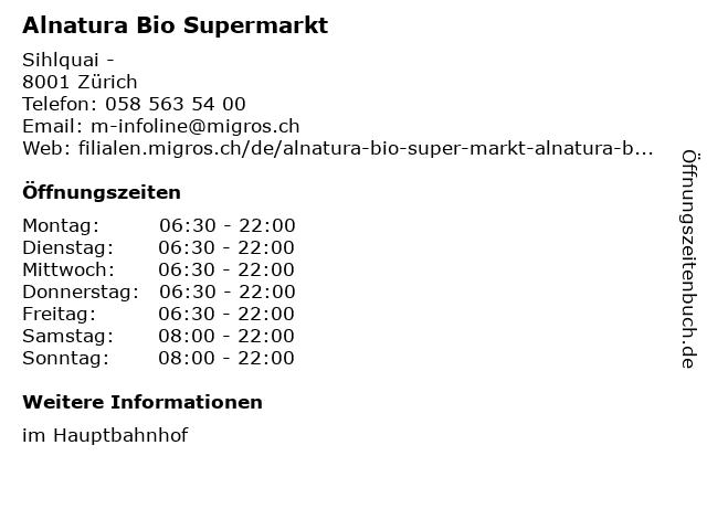 Alnatura Bio Supermarkt in Zürich: Adresse und Öffnungszeiten