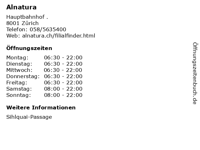 Alnatura in Zürich: Adresse und Öffnungszeiten