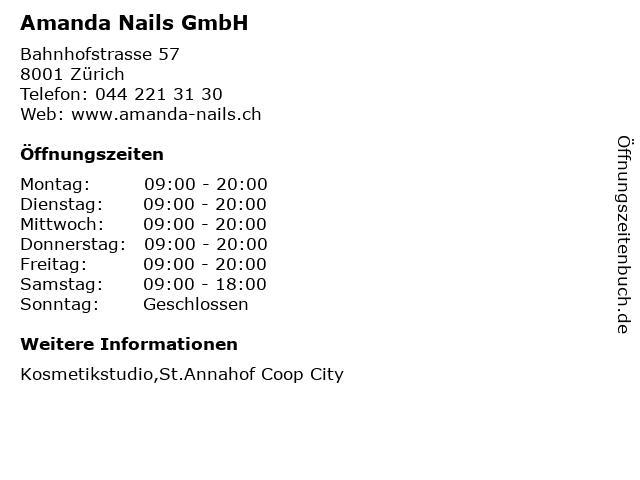 Amanda Nails GmbH in Zürich: Adresse und Öffnungszeiten