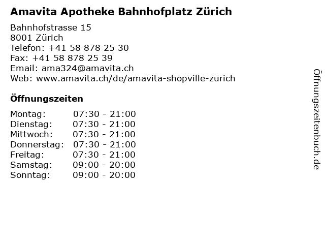 Amavita Apotheke Bahnhofplatz Zürich in Zürich: Adresse und Öffnungszeiten