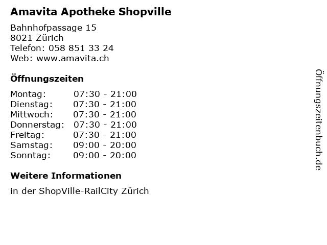 Amavita Apotheke Shopville in Zürich: Adresse und Öffnungszeiten