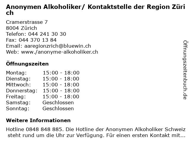 Anonymen Alkoholiker/ Kontaktstelle der Region Zürich in Zürich: Adresse und Öffnungszeiten