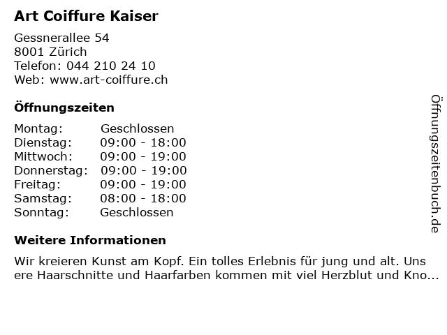 Art Coiffure Kaiser in Zürich: Adresse und Öffnungszeiten