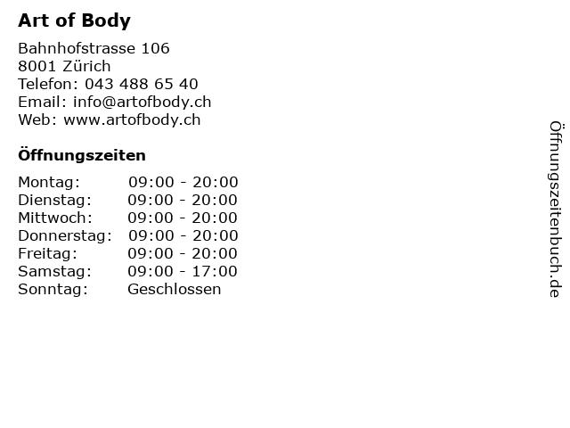 Art of Body in Zürich: Adresse und Öffnungszeiten