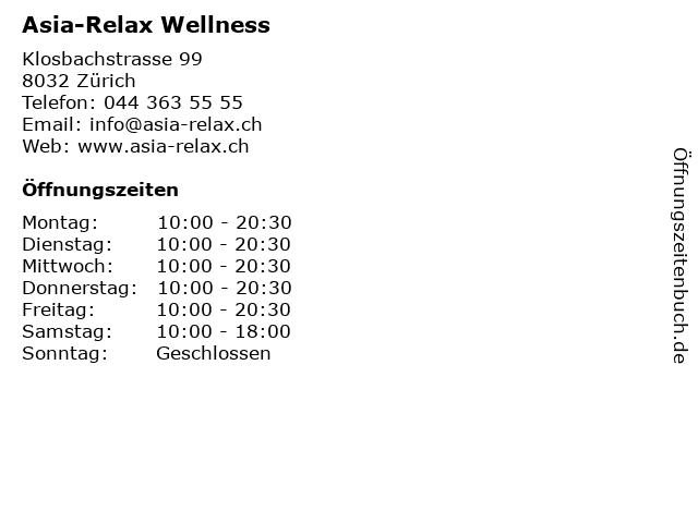 Asia-Relax Wellness in Zürich: Adresse und Öffnungszeiten
