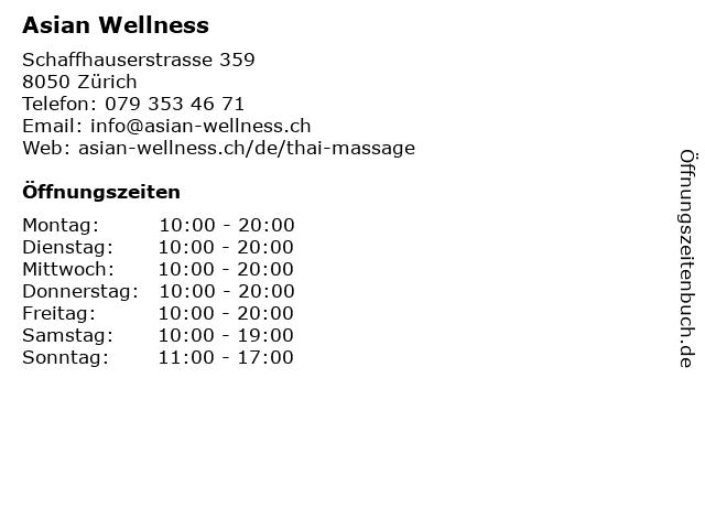 Asian Wellness in Zürich: Adresse und Öffnungszeiten