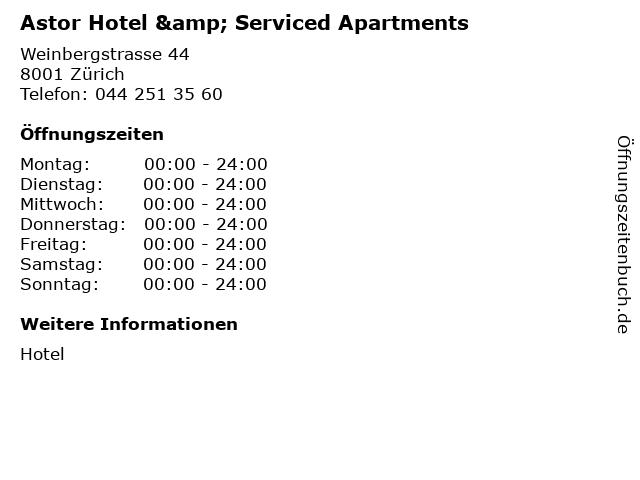 Astor Hotel & Serviced Apartments in Zürich: Adresse und Öffnungszeiten