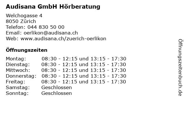 Audisana GmbH Hörberatung in Zürich: Adresse und Öffnungszeiten