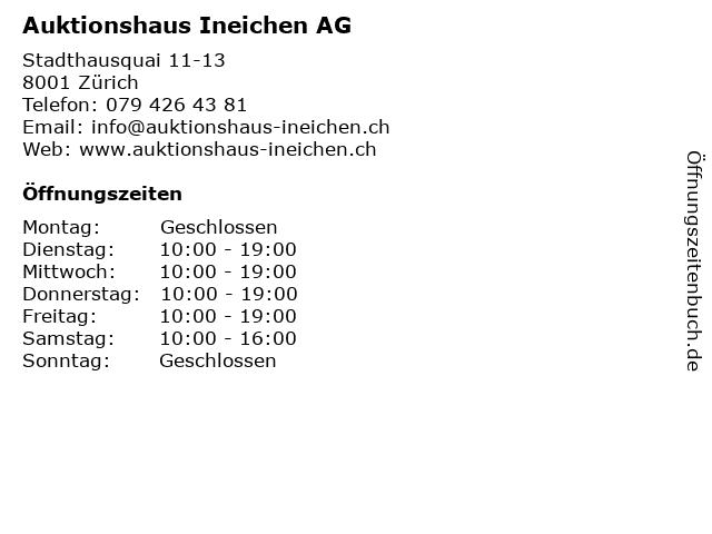 Auktionshaus Ineichen AG in Zürich: Adresse und Öffnungszeiten