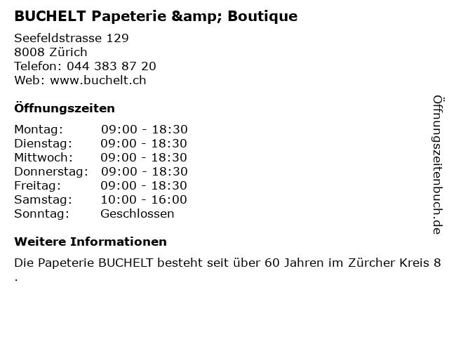 BUCHELT Papeterie & Boutique in Zürich: Adresse und Öffnungszeiten
