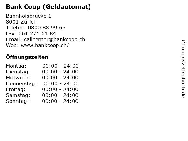 Bank Coop (Geldautomat) in Zürich: Adresse und Öffnungszeiten