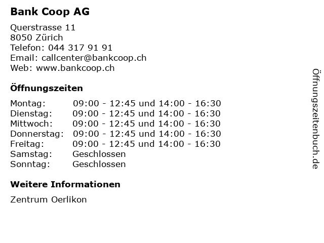Bank Coop AG in Zürich: Adresse und Öffnungszeiten