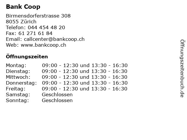 Bank Coop in Zürich: Adresse und Öffnungszeiten