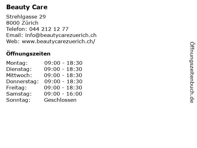 Beauty Care in Zürich: Adresse und Öffnungszeiten