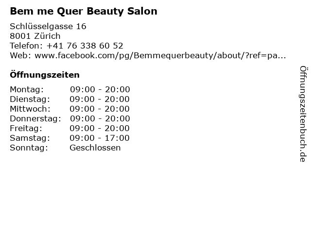 Bem me Quer Beauty Salon in Zürich: Adresse und Öffnungszeiten