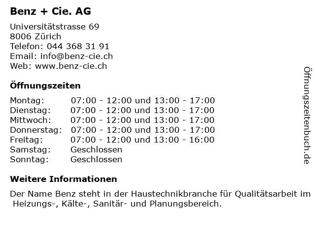 Benz + Cie. AG in Zürich: Adresse und Öffnungszeiten