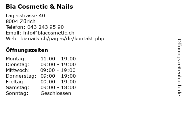 Bia Cosmetic & Nails in Zürich: Adresse und Öffnungszeiten