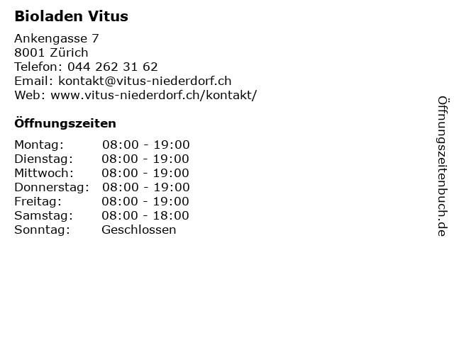 Bioladen Vitus in Zürich: Adresse und Öffnungszeiten