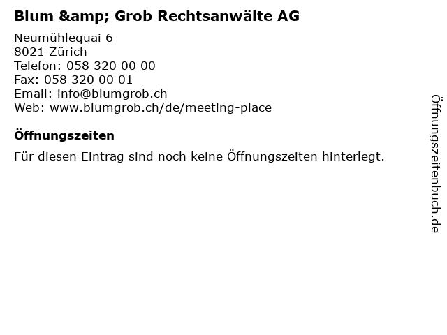 Blum & Grob Rechtsanwälte AG in Zürich: Adresse und Öffnungszeiten