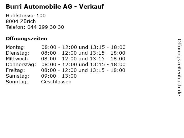 Burri Automobile AG - Verkauf in Zürich: Adresse und Öffnungszeiten
