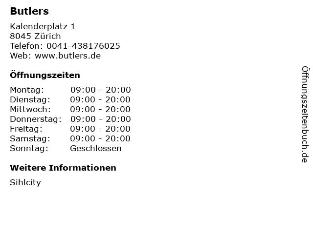 Butlers GmbH & Co. KG in Zürich: Adresse und Öffnungszeiten