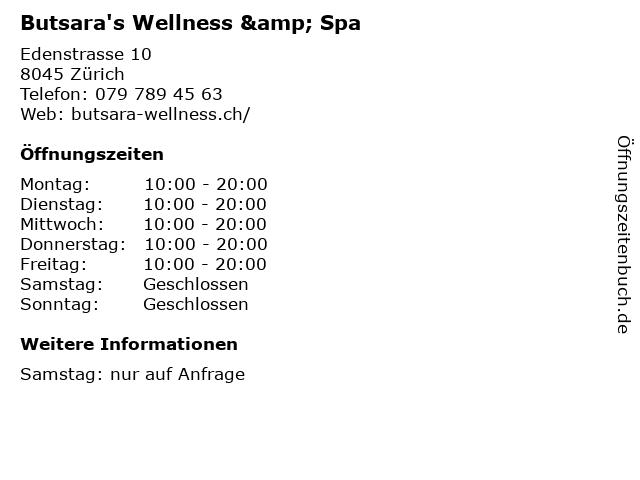 Butsara's Wellness & Spa in Zürich: Adresse und Öffnungszeiten