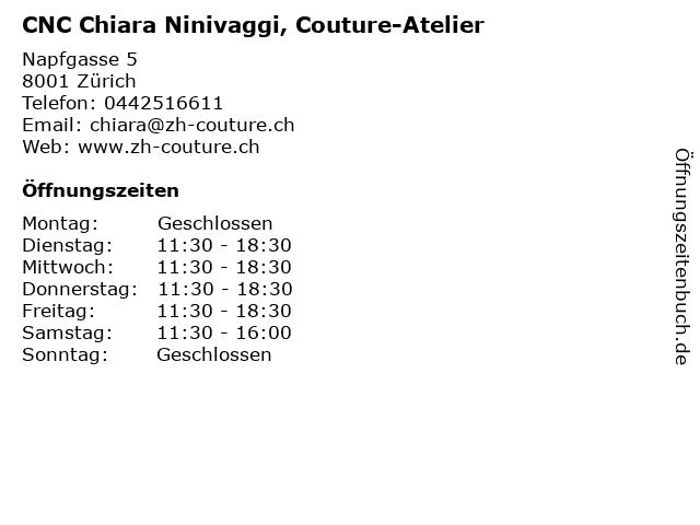 CNC Chiara Ninivaggi, Couture-Atelier in Zürich: Adresse und Öffnungszeiten
