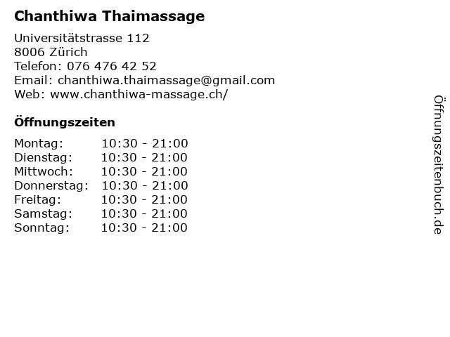 Chanthiwa Thaimassage in Zürich: Adresse und Öffnungszeiten