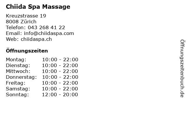 Chiida Spa Massage in Zürich: Adresse und Öffnungszeiten