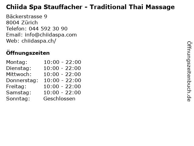 Chiida Spa Stauffacher - Traditional Thai Massage in Zürich: Adresse und Öffnungszeiten