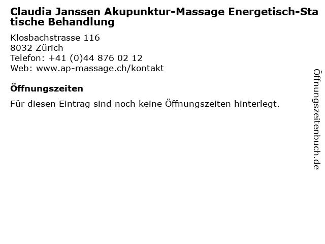 Claudia Janssen Akupunktur-Massage Energetisch-Statische Behandlung in Zürich: Adresse und Öffnungszeiten
